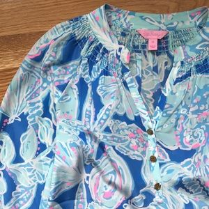 Lilly Pulitzer Printed Silk Button Down Shirt
